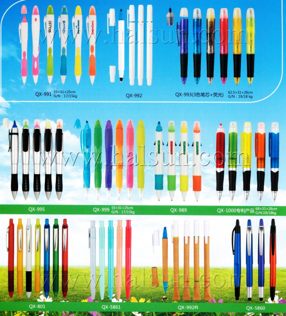 4 in 1 pens, 3 color multi color ballpoint pens plus highlighter on top,2015_08_07_17_25_29