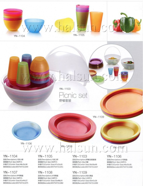 Picnic set,6 color bowls,small plate,big plates,large plates,promotional picnec sets YN-1101