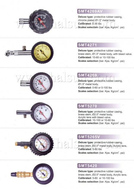 Deluxe Dia Type Tire Gaugtes,Metal Body Protective Rubber Casing Dial Tire Gauges,Brass Base Tire Tauges,SMT4269AV